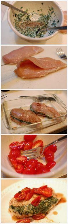 Frango recheado com tomates e espinafre
