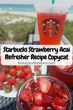 Make it at home – the Starbucks Strawberry Acai Refresher recipe. Super easy onc… Make it at home – the Starbucks Strawberry Acai Refresher recipe. Super easy once you have all the ingredients in place. From Beauty and the Beets - Fresh Drinks Healthy Starbucks Drinks, Starbucks Secret Menu Drinks, Healthy Drinks, Nutrition Drinks, Homemade Starbucks Recipes, Healthy Food, Starbucks Pink Drink Recipe, Starbucks Strawberry Acai Refresher, Strawberry Drinks