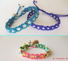 Beaded wavy macrame bracelets with satin cord. Easy to make and easy to wear! Tutorial here: https://www.youtube.com/watch?v=II10rIjWz-M