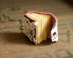 Mini Book Charm Necklace for book lover teacher librarian English major Envelope lace and maroon leather novel pendant