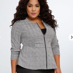 """Torrid Houndstooth Peplum Jacket Torrid Houndstooth peplum jacket. """"A work-ready jacket that lets everyone know you're the HBIC. 80's-inspired black and white houndstooth print covers the figure-flattering peplum style. A zip front lends structure to the collarless style. The perfect topper to any work 'fit."""" Size 1 measures 28"""" from shoulder. Polyester/rayon/nylon/spandex. torrid Jackets & Coats"""