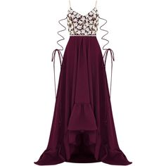 Razan Alazzouni Embellished Gown (€3.915) ❤ liked on Polyvore featuring dresses, gowns, burgundy, v neck dress, purple ball gowns, purple evening dresses, purple dress and v-neck dresses