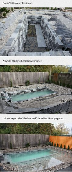 Amazing and Unique Tricks: Simple Backyard Garden Paths backyard garden path house.Backyard Garden Border Fence backyard garden landscape tips and tricks.Backyard Garden Oasis Tips. Diy Swimming Pool, Natural Swimming Pools, Diy Pool, Natural Pools, Swiming Pool, Backyard Projects, Outdoor Projects, Backyard Ideas, In Ground Pools