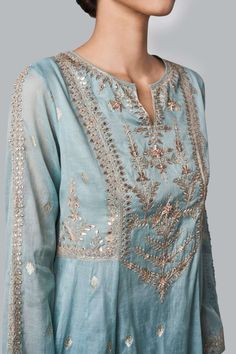 Ayaana Suit Designer Suits - Buy Ayaana Suit for Women Online - Blue - Anita Dongre Pakistani Dress Design, Pakistani Outfits, Pakistani Couture, Dress Neck Designs, Blouse Designs, Indian Wedding Outfits, Indian Outfits, Brocade Suits, Plus Sise