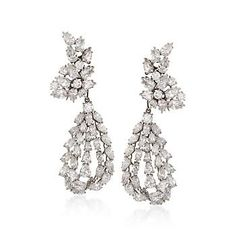 ca. 1960 Vintage 25.60 ct. t.w. Diamond Drop Earrings in Platinum