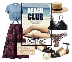 """criss cross bikini-set"" by live-ska ❤ liked on Polyvore featuring Miss Selfridge, Agnona, Janessa Leone, Belk Silverworks, bikini and romwe"