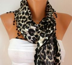 Leopard  Women  Scarf  Headband Necklace Cowl with by fatwoman, $17.00
