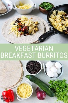 These easy Vegetarian Breakfast Burritos are a healthy, freezer-friendly option for breakfast, lunch, or dinner. Made in one pan, loaded with veggies, scrambled eggs, and whole wheat tortillas, these are great for meal prep and make-ahead meals. Vegetarian Mexican Recipes, Vegetarian Breakfast, Healthy Recipes, Freezer Friendly Meals, Whole Wheat Tortillas, Vegan Main Dishes, Batch Cooking, Make Ahead Meals, Breakfast Burritos