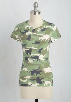 Sights set on 'claw-inspiring' garments? We have a 'feline' this graphic tee meets the criteria! A sublimated camouflage print makes this cotton-bl...