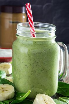 Green Monster Smoothie w/Chia Seeds is loaded with healthy spinach, nutrient-packed chia seeds, creamy peanut butter, almond milk, nonfat yogurt and banana. Green Smoothie Cleanse, Best Green Smoothie, Healthy Green Smoothies, Green Smoothie Recipes, Breakfast Smoothies, Juice Cleanse, All You Need Is, Boiled Egg Diet, Easy Meal Plans