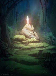 The sword in the forest, Larissa Hasenheit on ArtStation at https://www.artstation.com/artwork/the-sword-in-the-forest