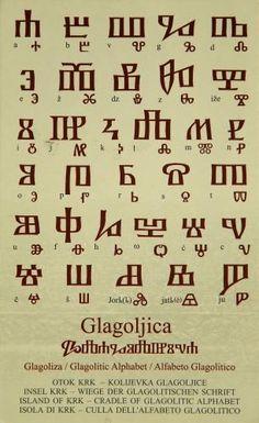 Alphabet glagolitique, l'alphabet slave le plus ancien. / The Glagolitic alphabet is the oldest known Slavic alphabet. Ancient Alphabets, Ancient Scripts, Ancient Symbols, Alphabet Code, Alphabet Symbols, Rune Symbols, Magic Symbols, Different Alphabets, Coding Languages