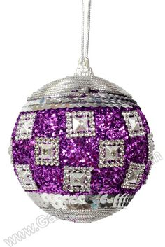 "4"" GLITTER SEQUIN BALL ORNAMENT PURPLE/SILVER PKG/3, GandGwebStore.com has a wide variety of Christmas ornaments in different sizes and colors."
