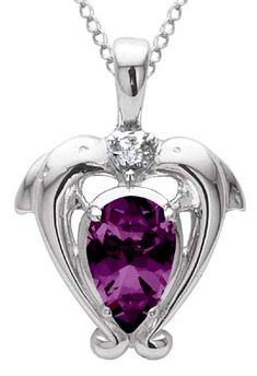 $179.95  Amethyst and Diamond Dolphin Necklace