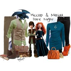 """""""Hiccup & Merida Couple Date Night Outfits"""" by rubytyra on Polyvore"""