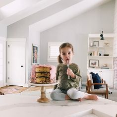 Let Them...eat cake, with a fork, from the cake plate, on top of the counter...Evie & Adrienne || Sustainable Baby Clothing and Accessories || Made in America || Be The Good | Fertility Awareness || www.evieandadrienne.com