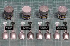 Mr.カラー・ガイアカラーのシルバー塗料各種を比較してみました。 | ガンダムブログはじめました Color Test, Bass, Modeling, Modeling Photography, Models, Lowes, Double Bass