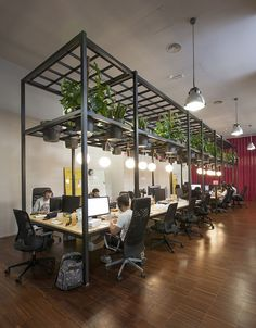 in barcelona, studio lagranja have created an airy, plant-filled office space for start-up 'typeform', based on ideals of fresh air and free mobility.