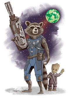 Rocket Raccoon and Baby Groot -   Chris Ring