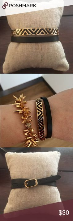 Stella & Dot Ally double wrap bracelet Ally double wrap bracelet. Shiny gold plated brass cuff with geometric detail sits on top of genuine leather double wrap band. Looks good alone or stacked. Stella & Dot Jewelry Bracelets