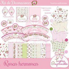 Kit de decoraciones imprimibles Shabby chic rosa, banderines, etiquetas, tarjetas, y mucho más.
