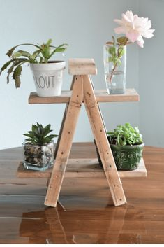 Ladder Plant Stand Tiny ladder plant stand diy step by step tutorial. An easy diy project for a rustic farmhouse ladder plant stand.Tiny ladder plant stand diy step by step tutorial. An easy diy project for a rustic farmhouse ladder plant stand. Wood Projects For Beginners, Scrap Wood Projects, Easy Woodworking Projects, Simple Wood Projects, Woodworking Jobs, Woodworking Techniques, Wooden Plant Stands, Diy Plant Stand, Plant Ladder