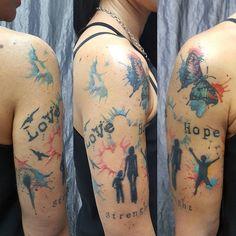 Family Watercolor tattoo by monica_manara