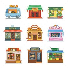 24 Ideas Meat Shop Illustration For 2019 Building Illustration, Flat Illustration, Landscape Clipart, Meat Store, Pics Art, Affinity Designer, Candy Store, Vintage Design, Illustrations And Posters