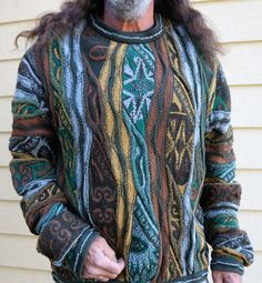 Vintage Coogi Authentic Wool Blend Sweater // Vintage Australian Mercerized Wool Three D Sweater / Snoop Dog Sweater / Oversize Sweater XXL by HippieGypsyBoutique on Etsy