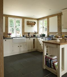 Border Oak - Traditional Painted kitchen in an oak framed Cottage.