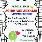 Bundle of Acids and Alkalis worksheet/Test/Word Walls  Subtopics:  1.Classification of mixture as acid and alkalis. 2.Testing for acid and alkali...