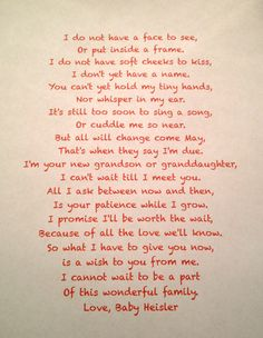 How we told our families. I gave each set of parents an empty frame reserved for our first ultrasound picture along with this poem. I also sent this letter out to our relatives.