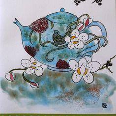 Carte postale d'art double anniversaire ou fête ,automne dessin original l'heure du thé