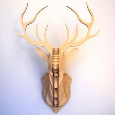 Wooden Stag Head Wall Trophy. Not sure what to make of this.