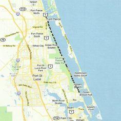 Cocoa Beach Cocoa Village Cape Canaveral Merritt Island FL - Indian river lagoon map