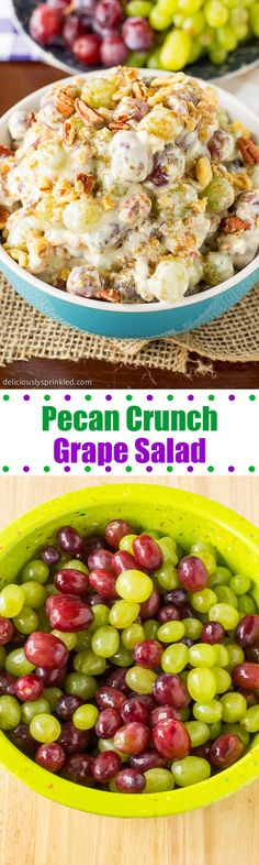 Pecan Crunch Grape Salad- a must have fruit salad that everyone loves! – Deliciously Sprinkled Pecan Crunch Grape Salad- a must have fruit salad that everyone loves! Pecan Crunch Grape Salad- a must have fruit salad that everyone loves! Fruit Recipes, New Recipes, Salad Recipes, Cooking Recipes, Favorite Recipes, Easter Recipes, Recipies, Fruit Dishes, Food Dishes