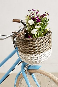 Bicycle basket and flowers