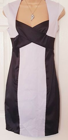 4338fc838fd Jane Norman Ladies Black White Body Con Party Work Smart Pencil Dress Size  10
