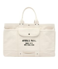 AVIREX MENS(アヴィレックス メンズ)のAVIREX×TAKEYARI HEAVY CANVAS TOTE BAG/アヴィレックス×タケヤリ ヘヴィーキャンバス トートバッグ(トートバッグ)|オフホワイト Bag Packaging, Bag Design, Fabric Bags, Canvas Tote Bags, Cloths, Hip Hop, Military, Sewing, Fashion