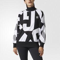 8aa21bdce2e8 New Womens Adidas Bold Age Black White Oversized Pullover Mock Neck  Sweatshirt M  adidas