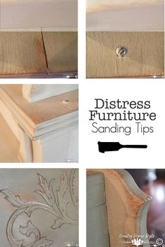 How to distress furniture using sanding tips. Including waxes both white and dark.  | Country Design Style #sandingtips #distressedfurniture