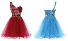 One Shoulder Dark Red Homecoming Dresses with Beaded,Short dress,Sweetheart dress