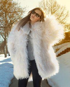 Boho Shaggy TIBETAN Lamb White FUR COAT Mongolian long hair Winter Jacket 80s Vintage Hip Urban Rocker Woman Mens Medium lambs fur Overcoat by HarlowGirls on Etsy