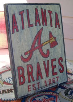 Atlanta Braves wall sign 12 1/4 x 9 distressed by Bobsvintagesigns, $25.00