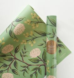 Emerald Peonies Set of 3 rolled wrapping sheets
