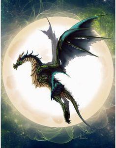 Fantasy | flying dragon moon, fantasy art