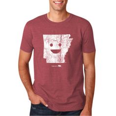 Arkansas Vintage Red Adult Shirt available in S-XL. white distressed screen print on soft lived in feeling shirt. 35% cotton/65% polyester  sizeSMLXL Chest36404448 Length26 5⁄827 5⁄828 5⁄829 5⁄8 Sleeve Length1516 1⁄21819 1⁄2