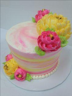by whiteflowercakeshoppe White Flower Cake Shoppe, Watercolor Cake, Summer Cakes, Modeling Chocolate, Painted Cakes, Unique Cakes, Bakery Cakes, Cake Boss, Buttercream Cake