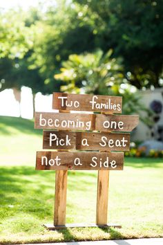 Two families becoming one. Pick a seat, not a side.
