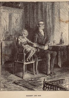 """Original Antique Engraving from 1800's. Dickens story, """"Dombey and Son"""".  Illustrated by Fred Barnard."""